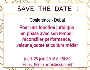 SAVE THE DATE : Conférence-débat pour les Directions Juridiques