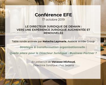 Natacha Leymarie participe à la conférence EFE «Le directeur juridique de demain»
